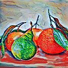 oranges and a pear by redqueenself