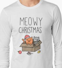 Meowy Christmas Cat Holiday Pun Long Sleeve T-Shirt
