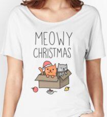 Meowy Weihnachtskatzen-Feiertags-Wortspiel Loose Fit T-Shirt
