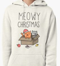 Meowy Christmas Cat Holiday Pun Pullover Hoodie