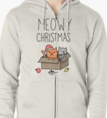 Meowy Christmas Cat Holiday Pun Zipped Hoodie