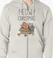 Meowy Weihnachtskatzen-Feiertags-Wortspiel Hoodie mit Reißverschluss
