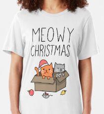Meowy Christmas Cat Holiday Pun Slim Fit T-Shirt