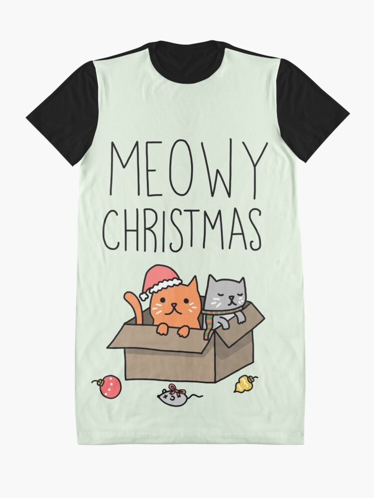 Alternate view of Meowy Christmas Cat Holiday Pun Graphic T-Shirt Dress