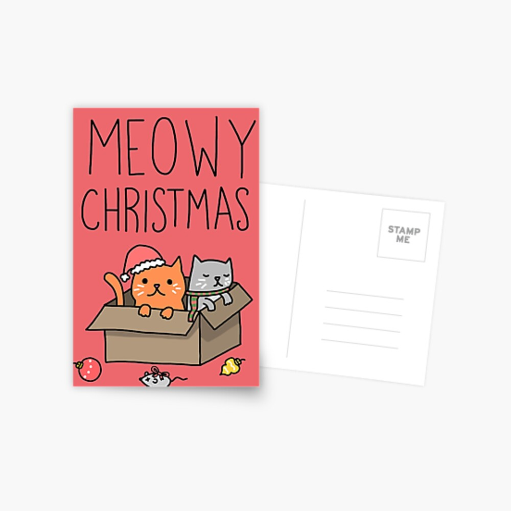 Meowy Christmas Cat Holiday Pun Postcard