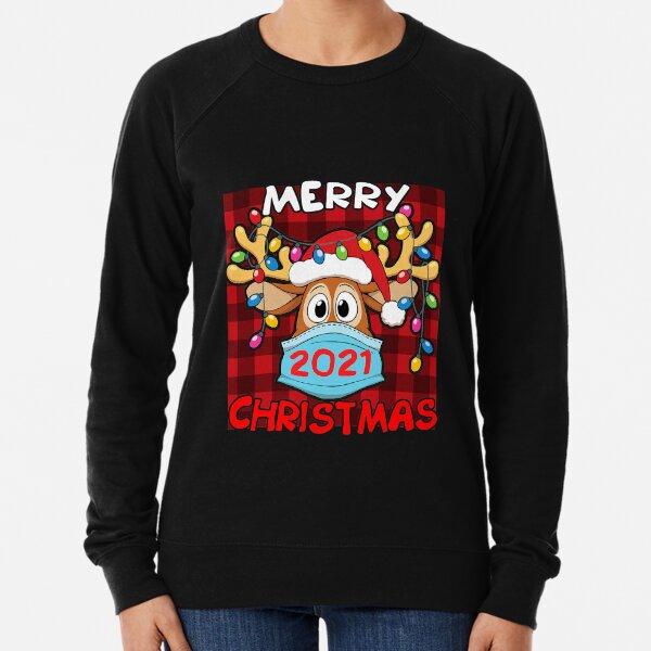 Reindeer In Mask Matching Family Pajama Merry Christmas 2021 Lightweight Sweatshirt