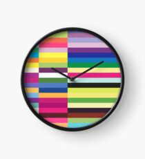 Compelling Colorful Striped Pattern Clock