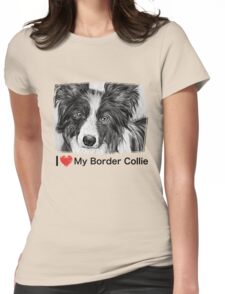 Border Collie Stare Womens Fitted T-Shirt