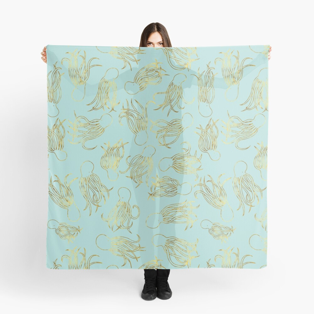 Gold Squids on Seafoam Scarf