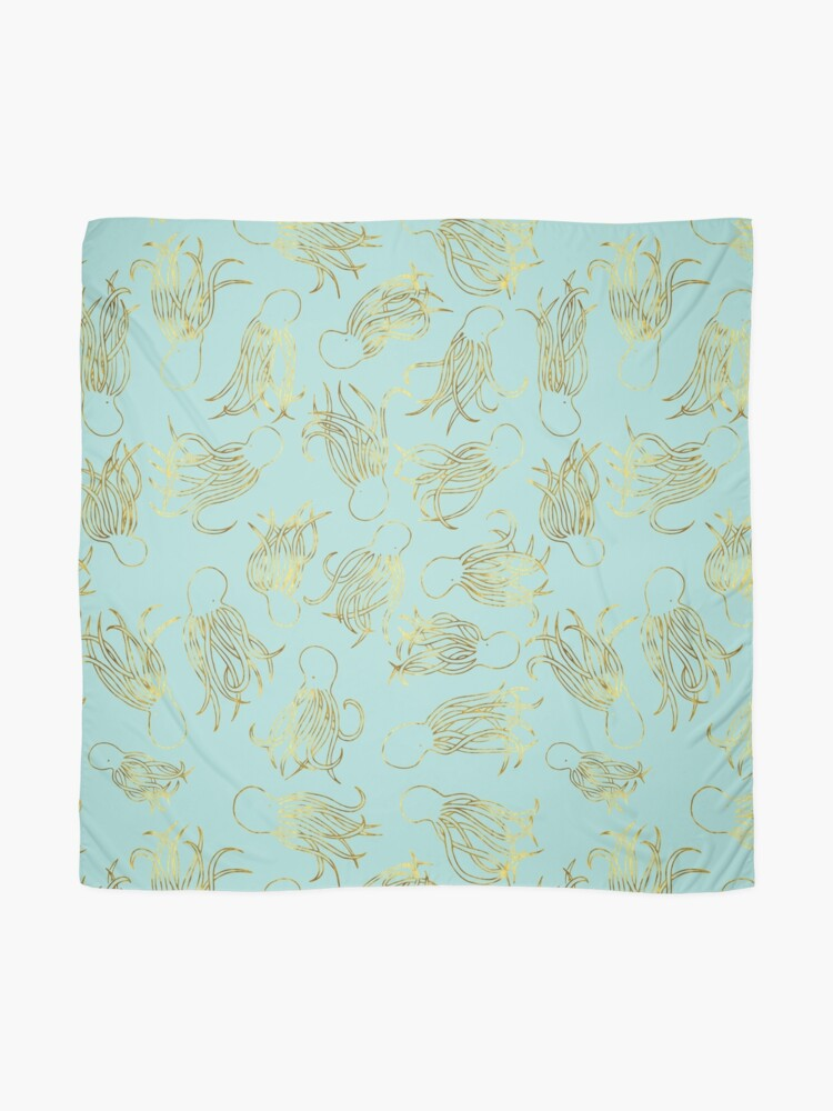 Alternate view of Gold Squids on Seafoam Scarf