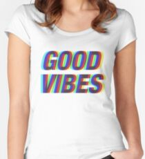 Good Vibes Techicolor Women's Fitted Scoop T-Shirt