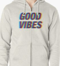Good Vibes Techicolor Zipped Hoodie