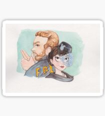 Andy & April from Parks and Recreation as Burt Macklin & Janet Snakehole Sticker
