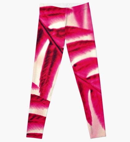 Nature Pattern # 1 - Fern (Red Pink) Leggings