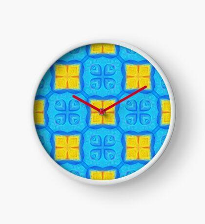 Yellow Blue DeepDream Pattern Clock