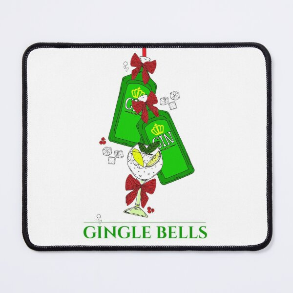 Christmas Gingle Bells Gin Bottles and Cocktail Glass Mouse Pad