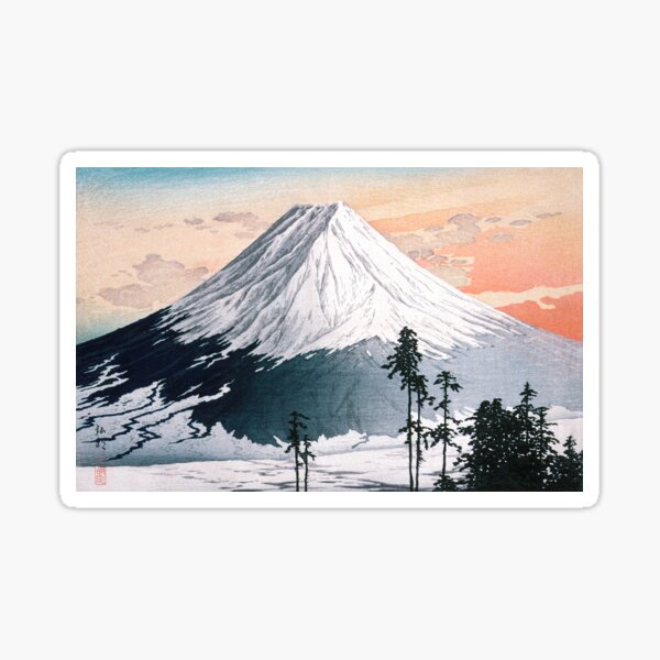 Mount Fuji - Katsuyama Neighborhood - H. Takahashi (digitally remastered) Sticker