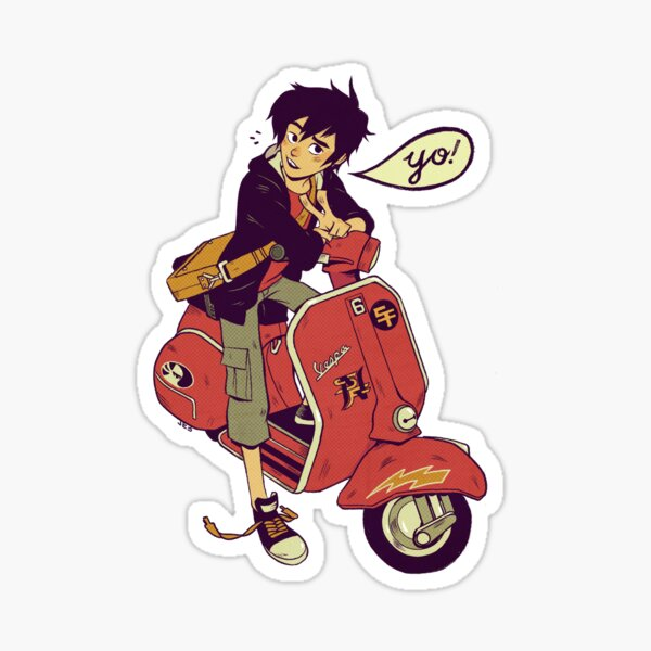 Hiro Hamada on a vespa Yo Sticker