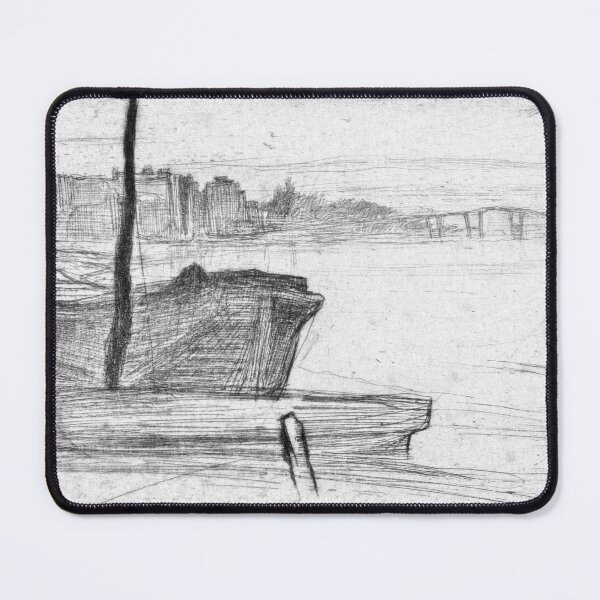 James Whistler Chelsea Bridge and Church Mouse Pad