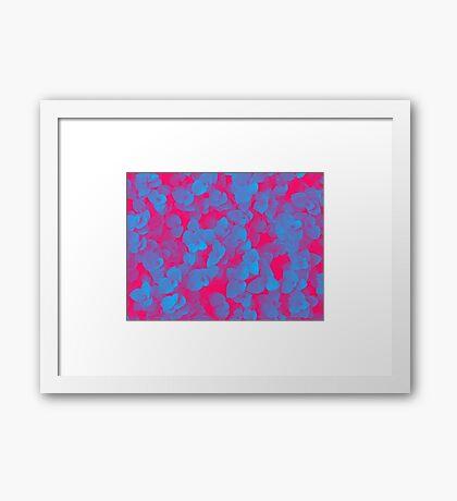 Nature Pattern - # 3 Leaves (Blue Red) Framed Print