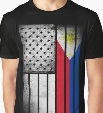 Filipino American Flag - Half Filipino Half American Graphic T-Shirt