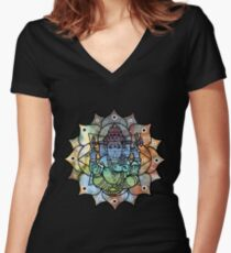 Colorful Ganesh Women's Fitted V-Neck T-Shirt