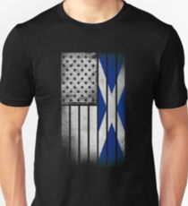 Scottish American Flag - Half Scottish Half American Unisex T-Shirt