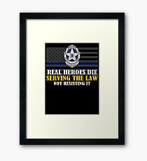 Support Police: Dallas Cops - Real Heroes Die Serving the Law Framed Print