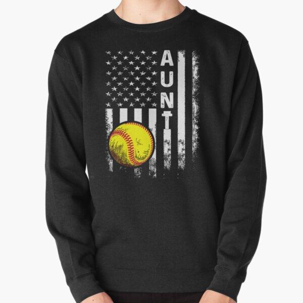 Softball Aunt American Flag Vintage Christmas Xmas Pullover Sweatshirt
