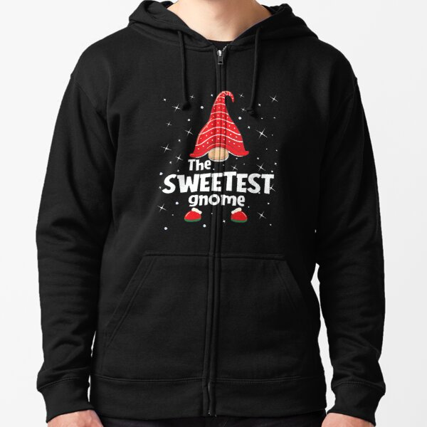 Sweetest Gnome Family Matching Christmas Funny Gift Pajama Zipped Hoodie