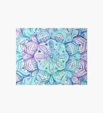 Iridescent Aqua and Purple Watercolor Mandala  Art Board