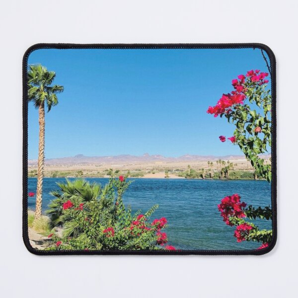 Desert River Walk Flowers by Water Art Print Mouse Pad