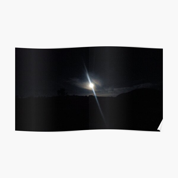 Beautiful black and white summer sunset landscape in the desert between the Souss valley and the Anti Atlas mountains Poster