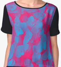 Nature Pattern - # 3 Leaves (Blue Red) Women's Chiffon Top