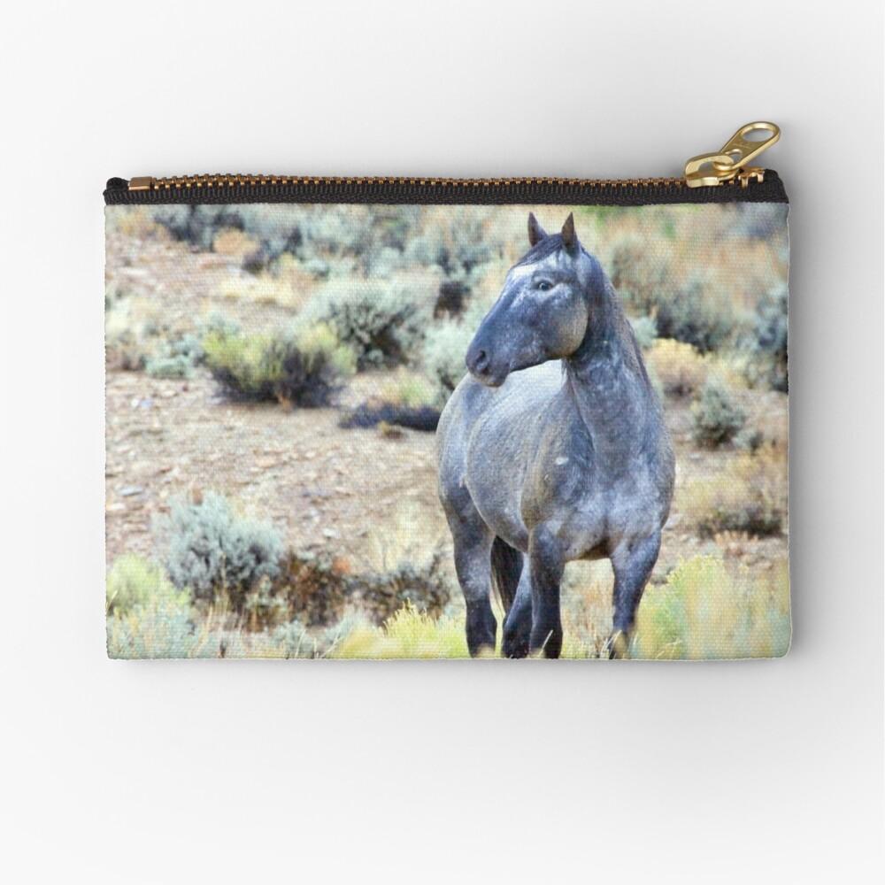 The Watchful Eye - Wild Blue Roan Stallion Zipper Pouch