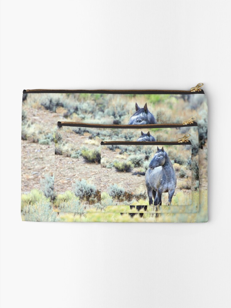 Alternate view of The Watchful Eye - Wild Blue Roan Stallion Zipper Pouch