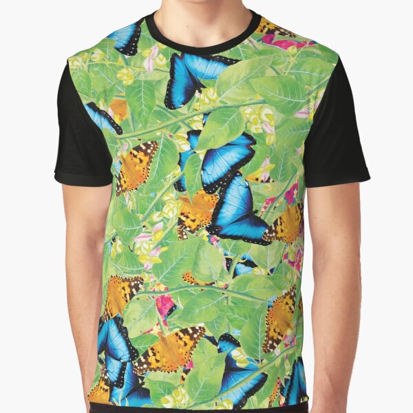 Leaves, Flowers And Butterflies Pattern Graphic T-Shirt