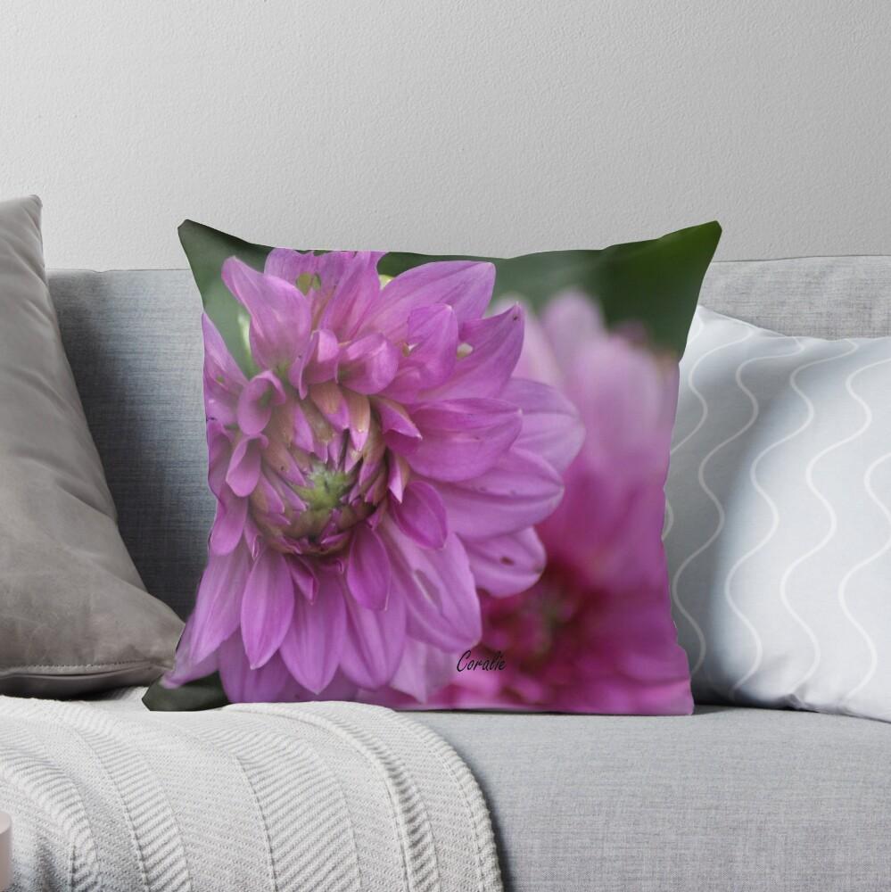 Soft Color of the Dahlia Flowers Throw Pillow
