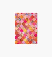 Hot Pink, Gold, Tangerine & Taupe Decorative Moroccan Tile Pattern Art Board