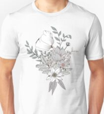 Seamless pattern design with hand drawn flowers and floral elements, white Unisex T-Shirt