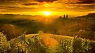 Sunset in the hills of styrian  tuscany by Delfino