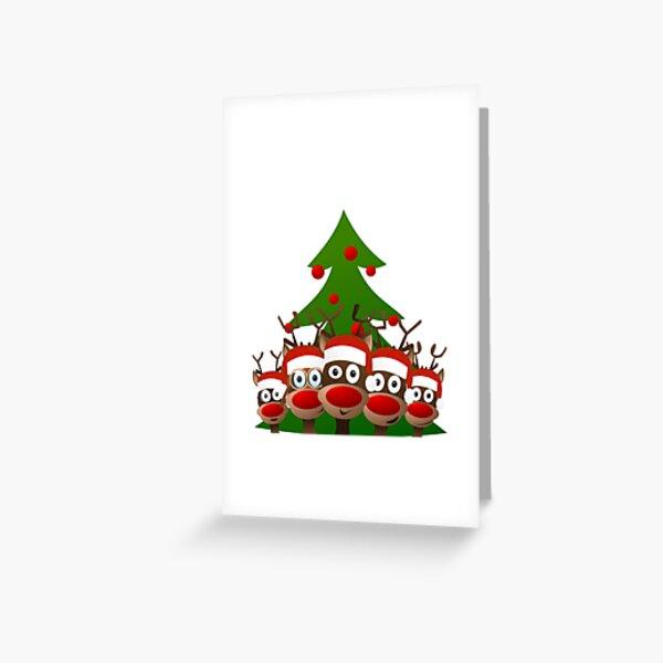 Reindeer under the Christmas tree Greeting Card