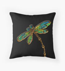 Electric Green Gold Dragonfly Throw Pillow