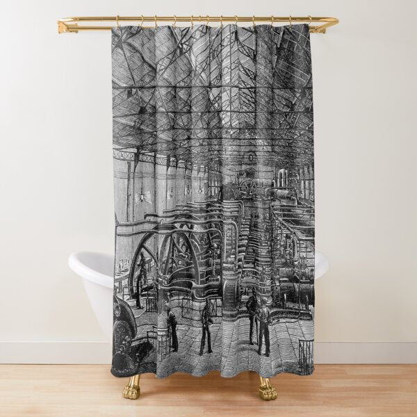 Maschinenhalle mit Luftkompressoren Duschvorhang