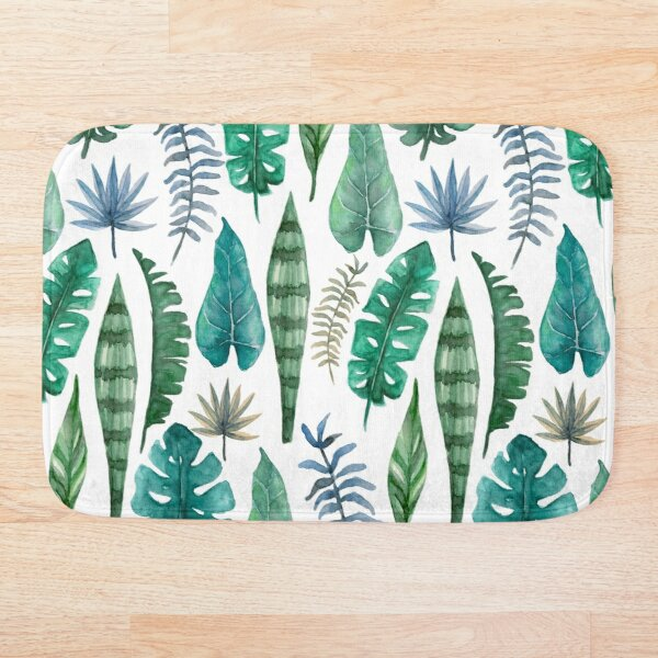 Vertical rainforest in green and turquoise watercolor Bath Mat