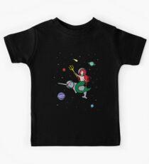 Mermaid Riding Narwhal In Space Kids Tee