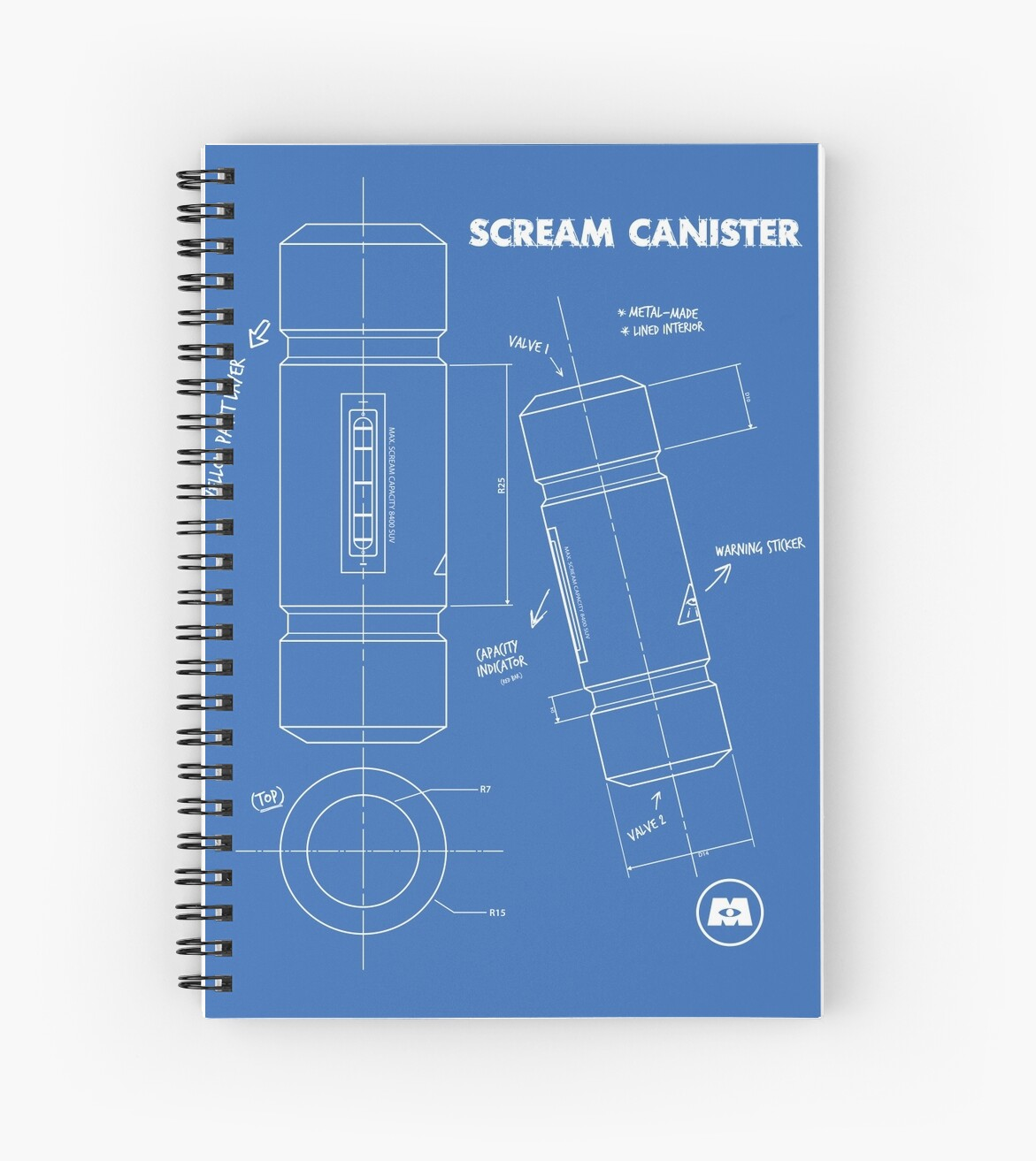 Scream canister blueprint spiral notebooks by nocilla redbubble scream canister blueprint by nocilla malvernweather Image collections