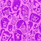 Purple Skull Sketches by Roseanne Jones
