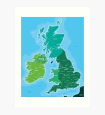 Map of Great Britain and Ireland Art Print
