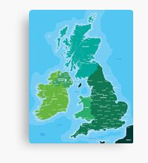 Map of Great Britain and Ireland Canvas Print
